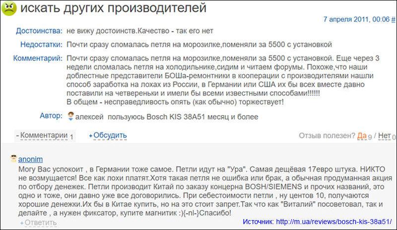 Отзыв Bosch KIS38A51